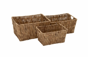 Cool and Beautiful Seagrass Basket Set Of 3 - 48972 by Benzara