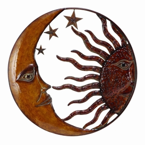 Metal Sun Moon Wall Decor With Antique Brown Look - 63767 by Benzara