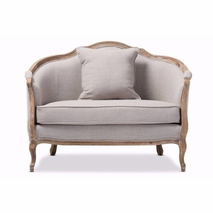 Corneille French Country Weathered Oak Beige Linen Upholstered 1-Seater Lounge Chair