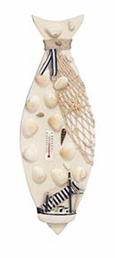 Costal Nautical Decor Wood Fish and Shells with Thermometer  - 67214 by Benzara