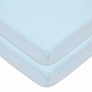Cotton Value Jersey Knit Fitted 2 Piece Portable/Mini Crib Sheet, Blue