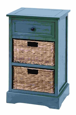Woodcraft Life Style Cabinet With 2 Wicker Baskets - 96180 by Benzara