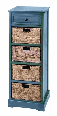 Woodcraft Style Cabinet With 4 Vertical Wicker Baskets - 96182 by Benzara