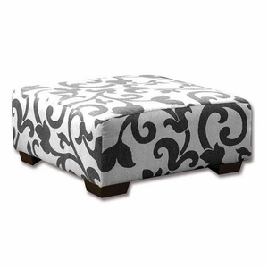 Cranbrook Malabar Ottoman Transitional Style, White & Gray
