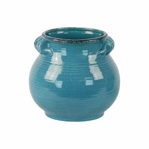 Craquelure Tall Bellied Tuscan Pot with Handles -Large-Blue-Benzara