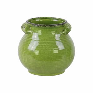 Craquelure Tall Bellied Tuscan Pot with Handles -Large-Green-Benzara