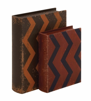Creative Styled Fancy Wood Leather Book Box - 76170 by Benzara