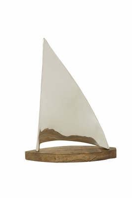 Creatively Designed Metal Wood Sailboat - 24043 by Benzara