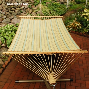 Crestwood Spa Stripe or Marlin Linen Tan 13 foot Reversible Quilted Hammock by Algoma