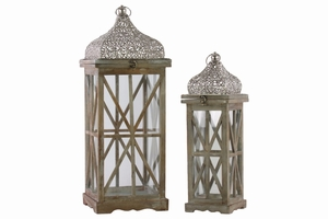 Criss Cross Design Wood Lantern with Ring Handle Set of Two- Brown- Benzara