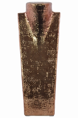 Criss Cross Patterned Bust Jewelry Display - Copper- Benzara
