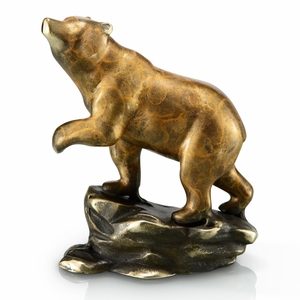 Crouching Bear Stalking Hunter in Brass by SPI-HOME