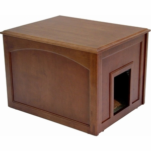 Crown Pet Cat Litter Cabinet with Mahogany Finish