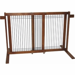 Crown Pet Freestanding Wood/Wire Pet Gate Small SpanGate Tall-W/W-S