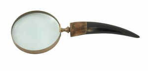 Crucial Brass Horn Magnifying Glass - 19018 by Benzara