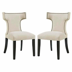 Curve Set of 2 Fabric Dining Side Chair, Beige
