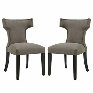 Curve Set of 2 Fabric Dining Side Chair, Granite