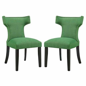 Curve Set of 2 Fabric Dining Side Chair, Kelly Green