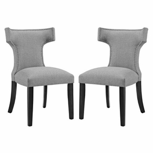 Curve Set of 2 Fabric Dining Side Chair, Light Gray