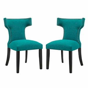 Curve Set of 2 Fabric Dining Side Chair, Teal
