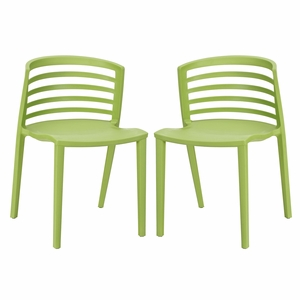 Curvy Dining Chairs Set of 2 Green