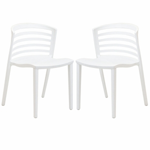 Curvy Dining Chairs Set of 2 White