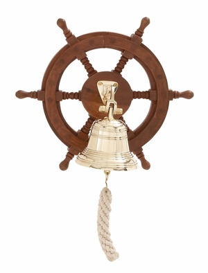 Customary Styled Attractive Wood Ship Wheel Bell - 19004 by Benzara