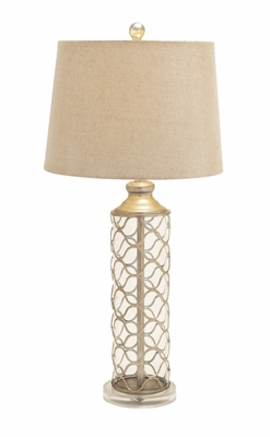 Customary Styled Glass Metal Table Lamp - 97397 by Benzara