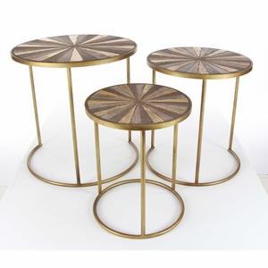 Cute Orotund Metal Accent Table, Set Of 3 - 98728 by Benzara