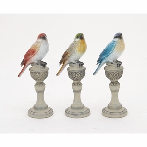 Cute PS Set Of Three Bird On Stand - 76793 by Benzara