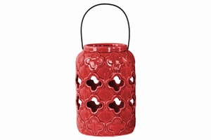 Cylindrical Lantern with Cutout Design and Metal Handle- Red- Benzara