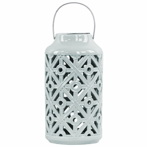 Cylindrical Lantern with Cutout Walls and Metal Handle - Blue - Benzara