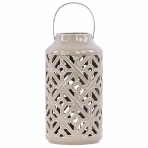 Cylindrical Lantern with Cutout Walls and Metal Handle - Brown - Benzara