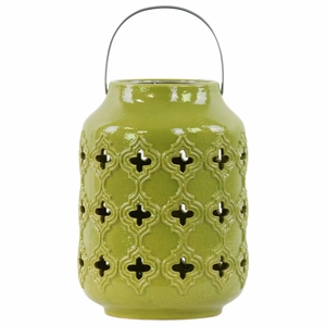 Cylindrical Lantern with Cutout Walls and Metal Handle - Green - Benzara