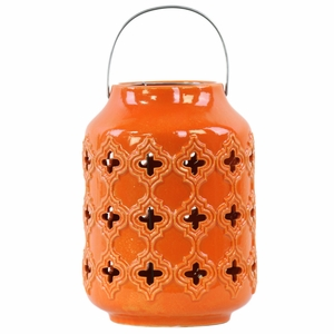 Cylindrical Lantern with Cutout Walls and Metal Handle - Orange - Benzara