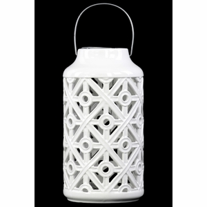 Cylindrical Lantern with Cutout Walls and Metal Handle - White - Benzara