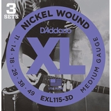 D'Addario EXL115-3D Nickel Wound Electric Guitar Strings, 3 Sets, Blues-Jazz Rock
