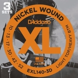 D'Addario EXL140-3D Nickel Wound Electric Guitar Strings, Light Top, 10-52, 3 sets