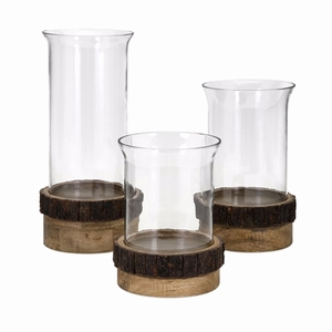 Achromatic Pillar Candleholders With Wood Stand - Set Of 3