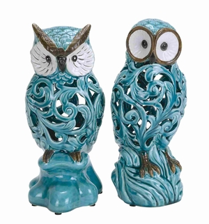 decorative Ceramic Owl in Blue with Well Design (Set of 2) - 38873 by Benzara