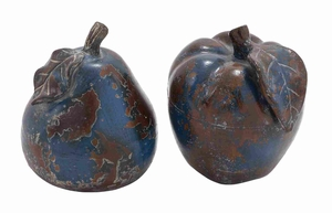 CeramicDecorative Stoneware Made Apple and PearDecor (Set of 2) - 64889 by Benzara