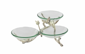 Glass Metal Triple Bowls, Interior Accent Bowls - 68582 by Benzara