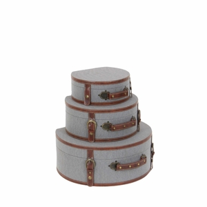 Decorative Gray Wood Fabric Boxes, Set Of 3 - 54066 by Benzara