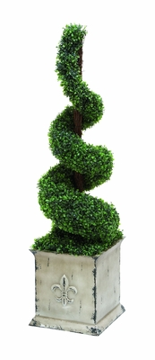 Polyester Spiral Shaped Topiary Boxwood In Natural Green Color - 20508 by Benzara