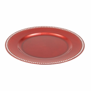 Decorative Beaded Charger Plate Red Set of 24 - 62654 by Benzara