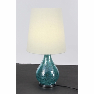 Decorous White And Turquoise Metal Mosaic Table Lamp - 39976 by Benzara