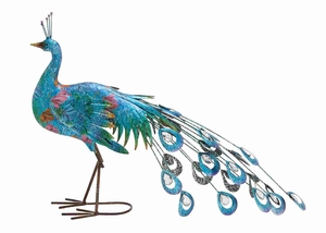 Metal Crafted Vibrant Shade Peacock Decor - 55238 by Benzara