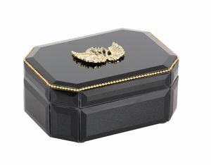 Delectable Wood Swan Glass Box, Black - 35786 by Benzara