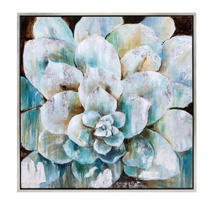 Delighted Flora Framed Oil Painting - Silver - Benzara