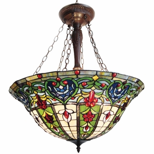 """Tiffany-style 3 Light Victorian Inverted Hanging Pendant Fixture 22"""" Shade"""